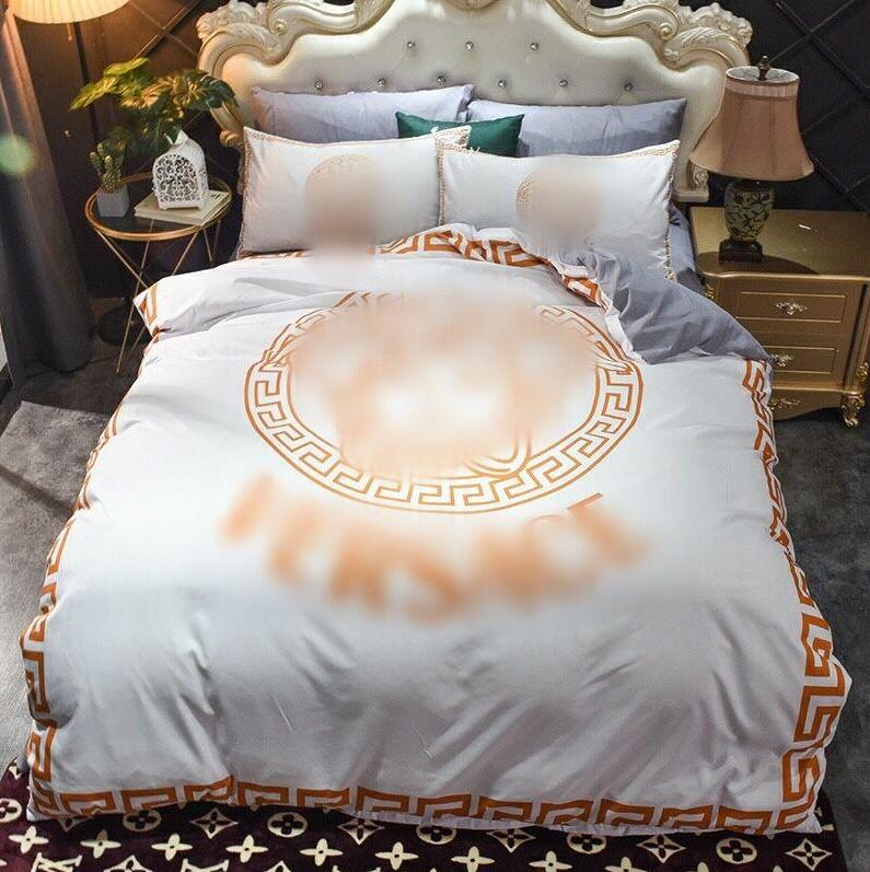 2021 gold white designer bedding sets cover hot saling queen size designer bedding 4 pcs set 2021 luxury bedding sheet pillow case