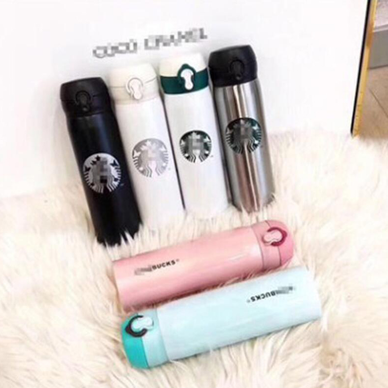 Brand Water Bottles Fashion Thermal Insulation thermos Vacuum Jug Kettle Cup With Coffee Cups Men Women Favorite Stainless Steel Drinkware 500 ML 8 Colors