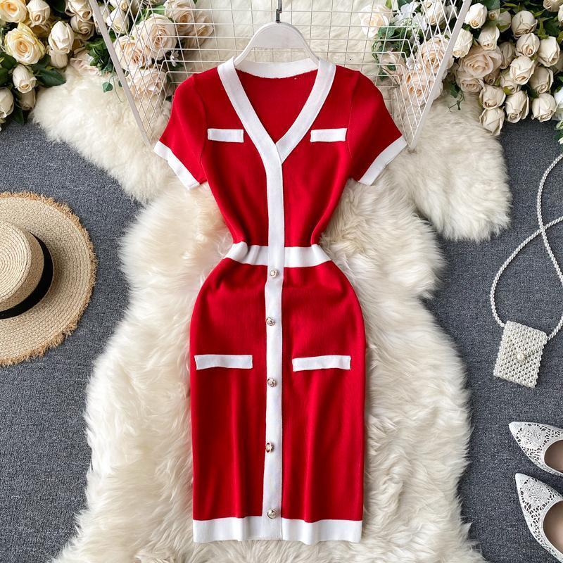 New design women's fashion retro elegant single breasted patchwork short sleeve v-neck knitted pencil dress color block short dress