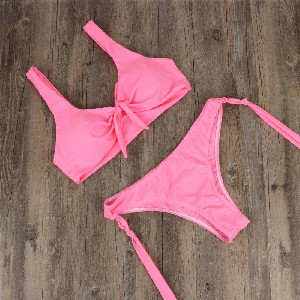 2019 Ms. Sexy Bikinis Band-tied Pure Color swimsuit nylon high-quality multi-wear chest pads gathered
