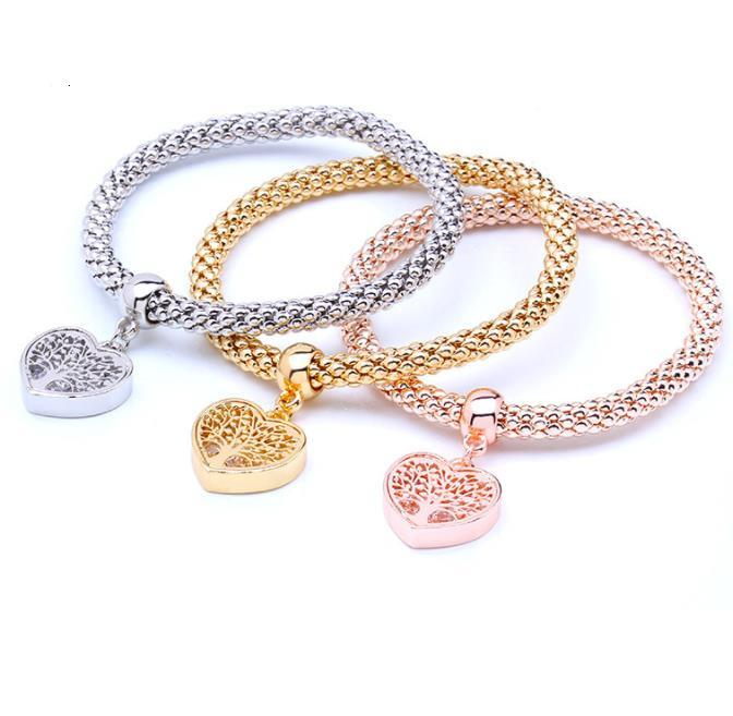 Pink Crystal Charm Heart Pendant Bracelet for Women Stretch Thick Bracelet Alloy Jewelry gift new style