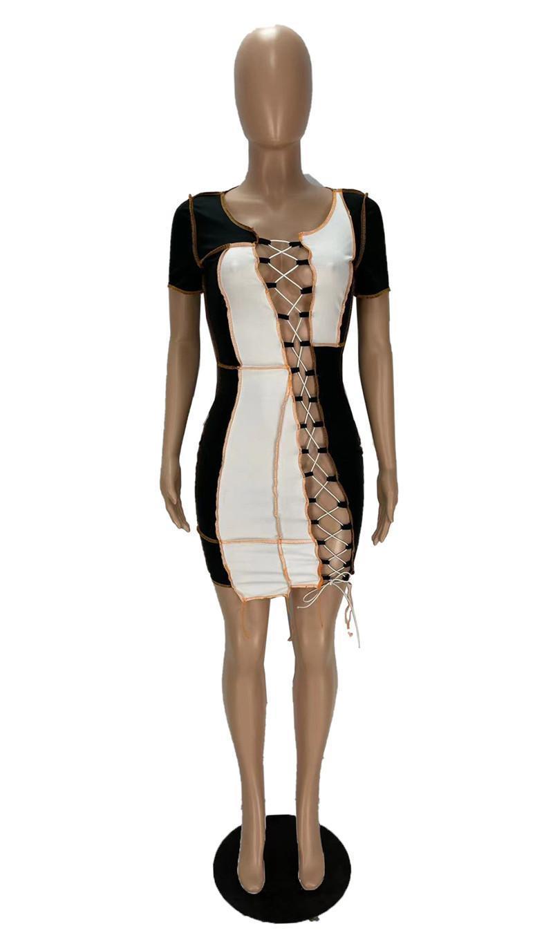 wholesale womens dresses one piece set sexy bind mini dress casual skirt high quality elegant luxury club wear women summer clothes klw6508