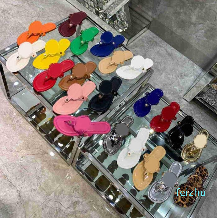 2021 Women Flat Slippers Luxurys Designers Sandals Leather Girl Slides Casual Flip Flops summer fashion ladies beach slipper slide sandal