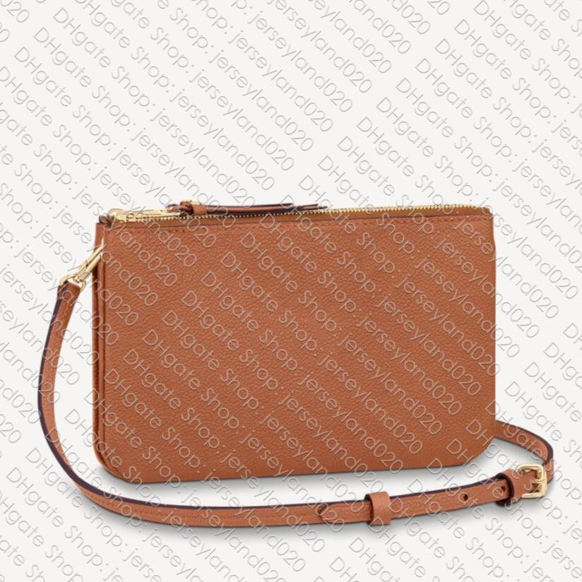 M68568 DOUBLE ZIP POCHETTE Designer Womens Shoulder Cross Body Bag Smartphone Phone Chain Pouch Zippy Clutch Evening Accessoires M80786