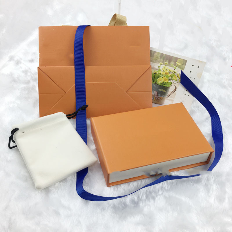 Orange Gift Drawer Boxes Drawstring Cloth Bags Display Retail Packaging for Fashion Jewelry Necklace Bracelet Earring Keychain Pendant Ring