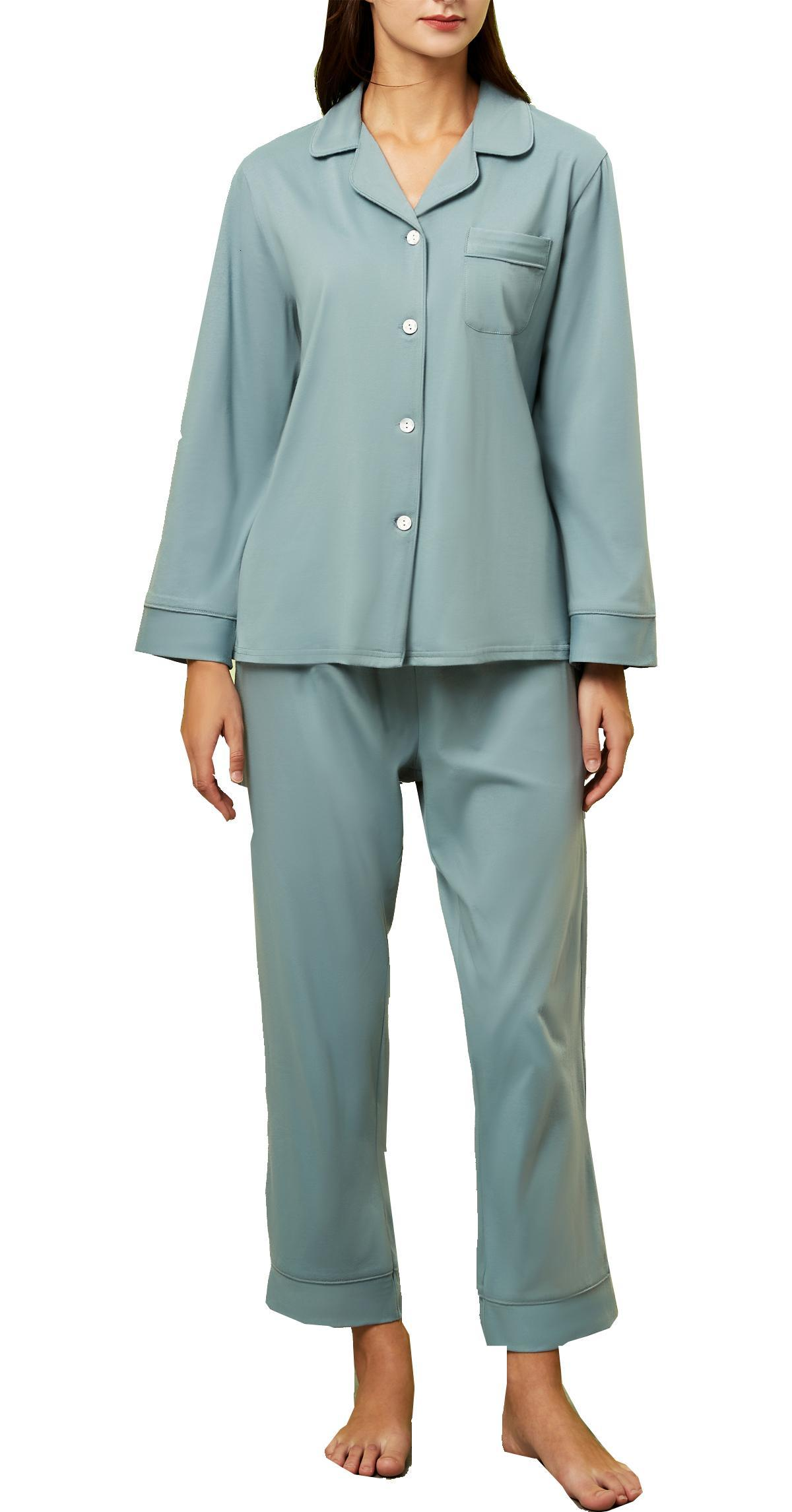 Women Cotton Pajamas Set Classic Long Sleeves Button Down Sleepwear Nightwear Ladies Retro V Neck Loungewear Pjs