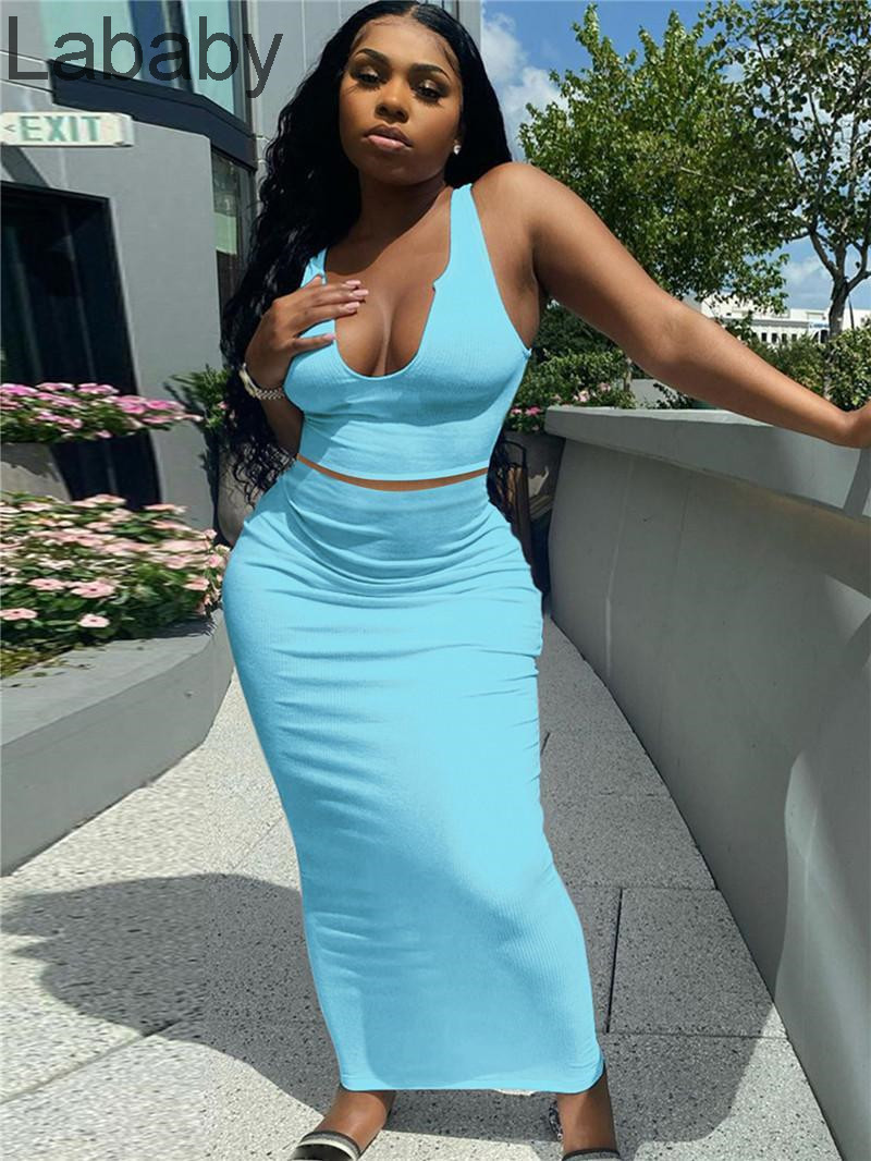 Plus size S-2XL Women solid color Two piece dresses low collar maxi skirt suits strap sleeveless tank top+Floor-Length skirts summer clothes 4804
