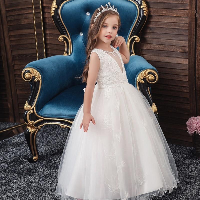 Flower Girls Dresses for Wedding Lace kids Baby Birthdays evening princess Party Dress White