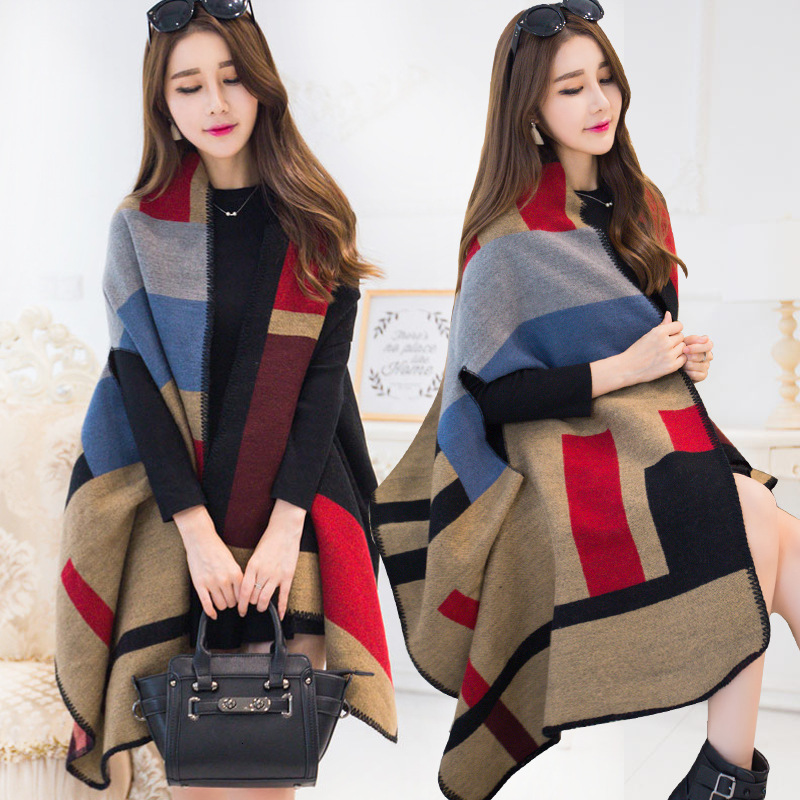 women cape shawl poncho Winter Thicken floral Cashmere fashion Warm Ponchos And Capes coat female both sides Blanket scarf womens sweaters