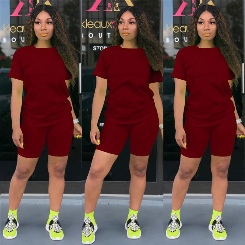 3XL 4XL Women yoga tracksuits Summer gym clothing two piece sets short sleeve t-shirts shorts solid color outfits Jogger suit Plus size sweatsuits Leisure wear 3307
