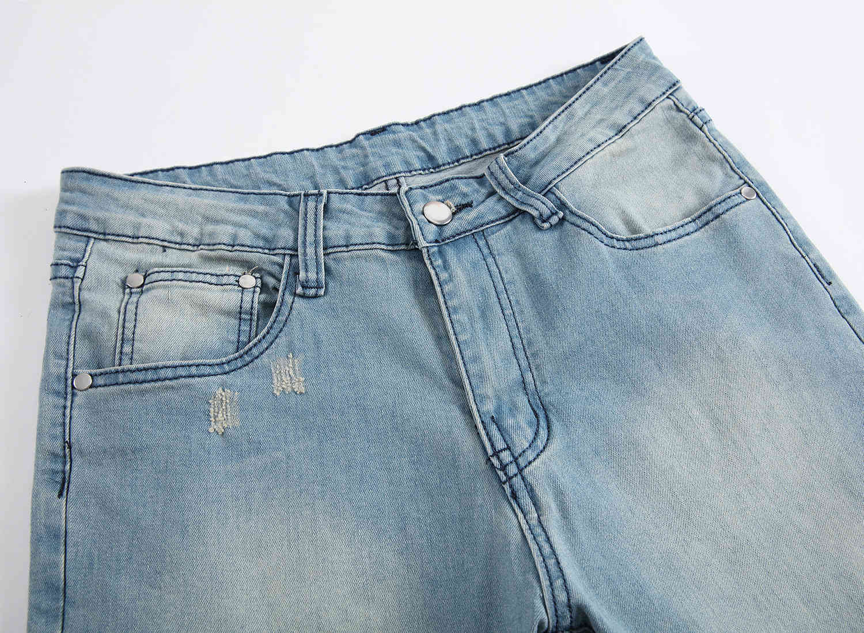 Skinny Mens Blue Jeans Cool Men Jeans Ripped Hole Stretch Slim Fit Denim Biker Jeans Hip Hop Men Streetwear 1211#