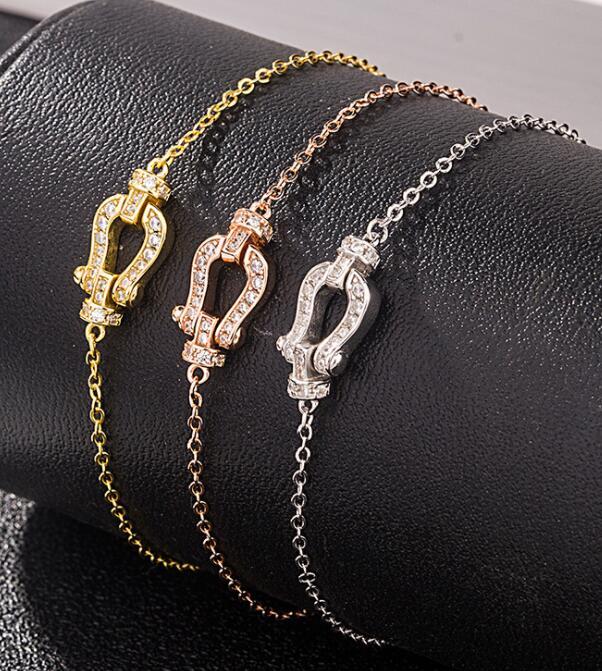 925 Sterling Silver Horseshoe Buckle Bracelet With Diamond Pendant Famous Brand Ladies Jewelry Fre Bracelet