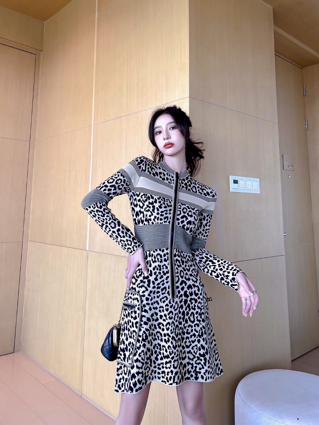 women's leopard print dress designer casual Knitted clothing high quality street fashion Brief Midi Dresses comfortable lady's clothes black white