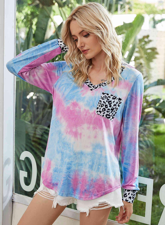 Autumn new style fashion leopard patchwor V-neck shirts Sweatshirts tie dye long sleeve shirts loose causal leopard pockets sweatshirts