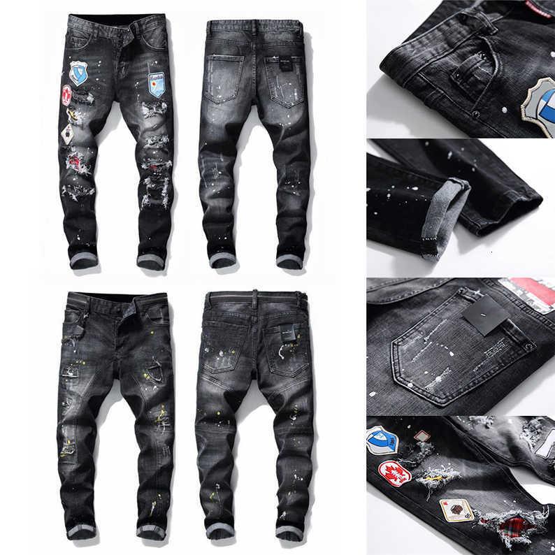 21ss Sell Mens Designer Jeans Distressed Ripped Slim Fit Motorcycle Biker Denim For Men s Fashion Mans Black Pants
