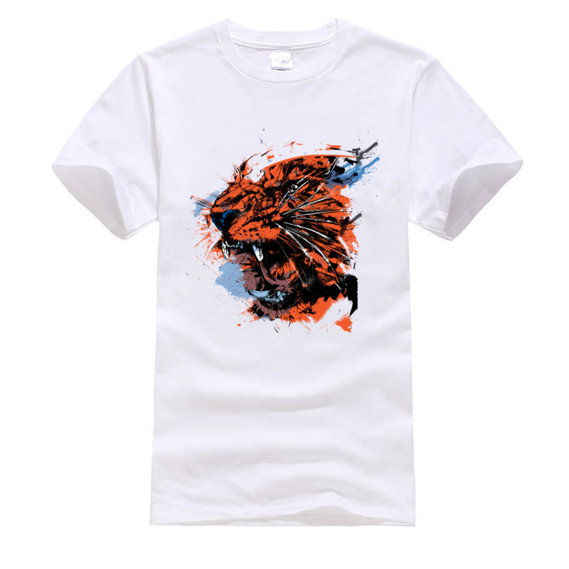 New Coming Faded_Tiger._3329 Camisa Short Sleeve T Shirt ostern Day Crew Neck 100% Cotton Tops Tees for Men T Shirt Classic Faded_Tiger._3329 white