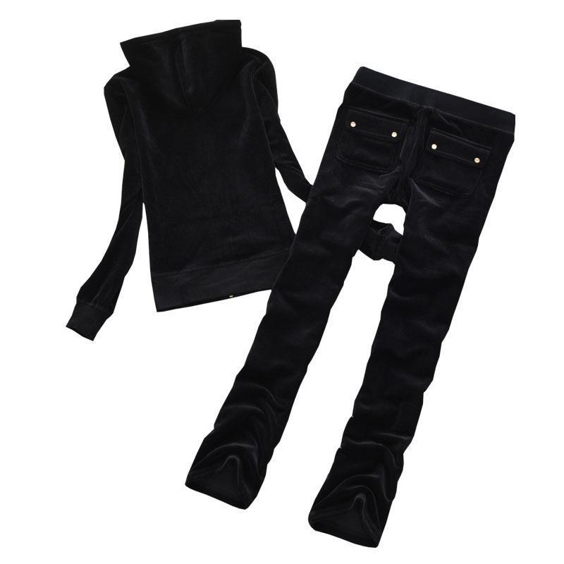 Spring/Fall/Winter Women's Brand Velvet Fabric Tracksuits Velour Large Size Long Sleeve Zipper