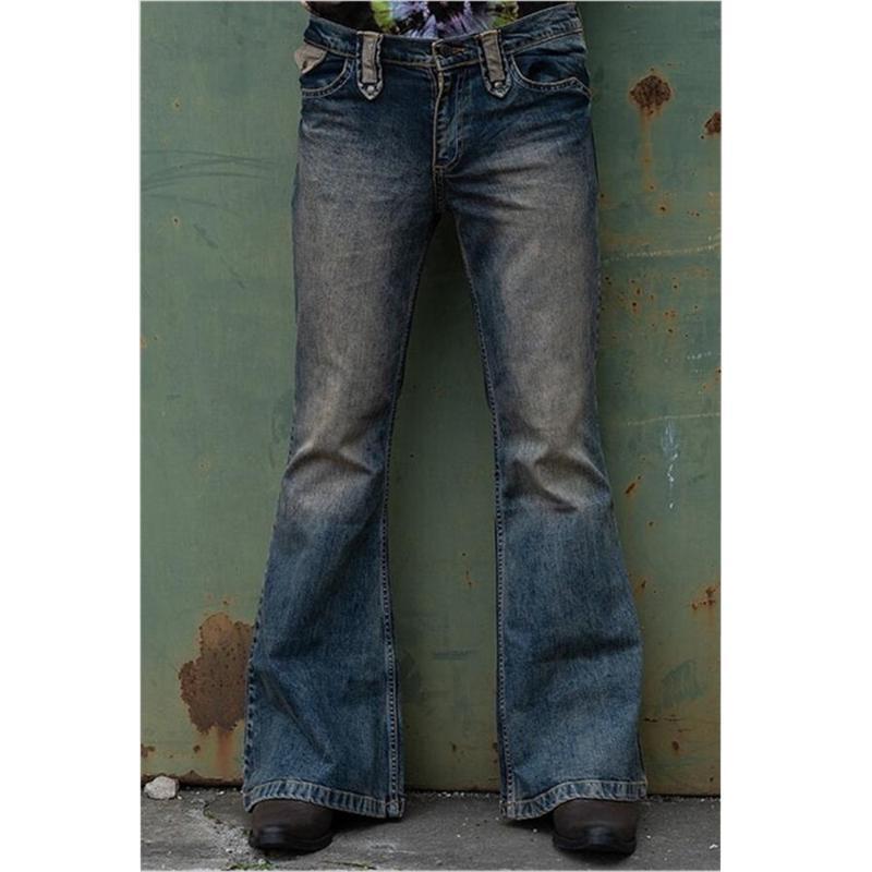 Men's Jeans Men Flared Bootcut Leg Pants Distressed Patchwork Fall Winter Punk Stlye Bell Bottom Denim Trousers Vaqueros Hombre