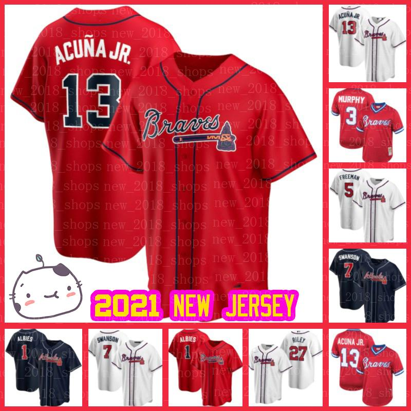 NCAA Braves Jerseys Ronald Acuna Jr. Ozzie Albies Dansby Swanson Baseball Freddie Freeman Austin Riley Max Fried Marcell Ozuna Pache Marcell