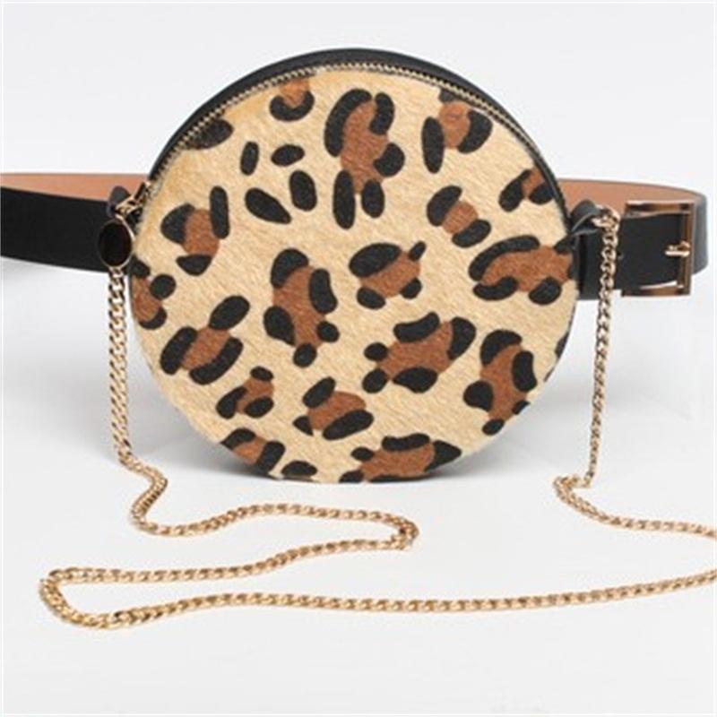 Leopard Waist Bag Belt Pack Round Chain Shoulder Crossbody Bag Snake Printing Chest Bag Bum Purse For Women 20 8srH1