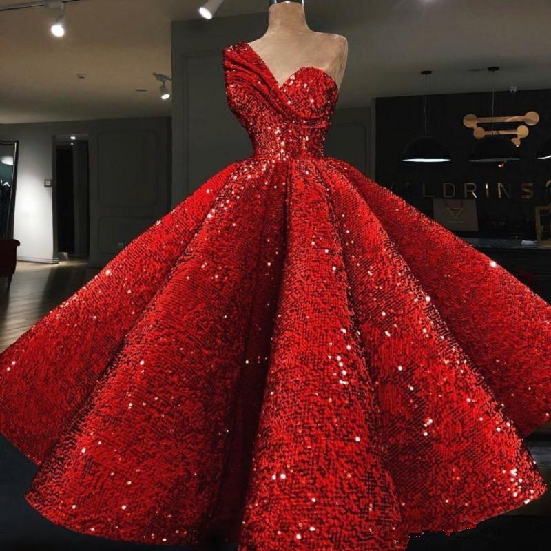 One Shoulder Red Evening Celebrity Dresses Sleeveless Ruffle Sequined Ball Gown robe de soiree Custom Made Prom Cocktail Dress