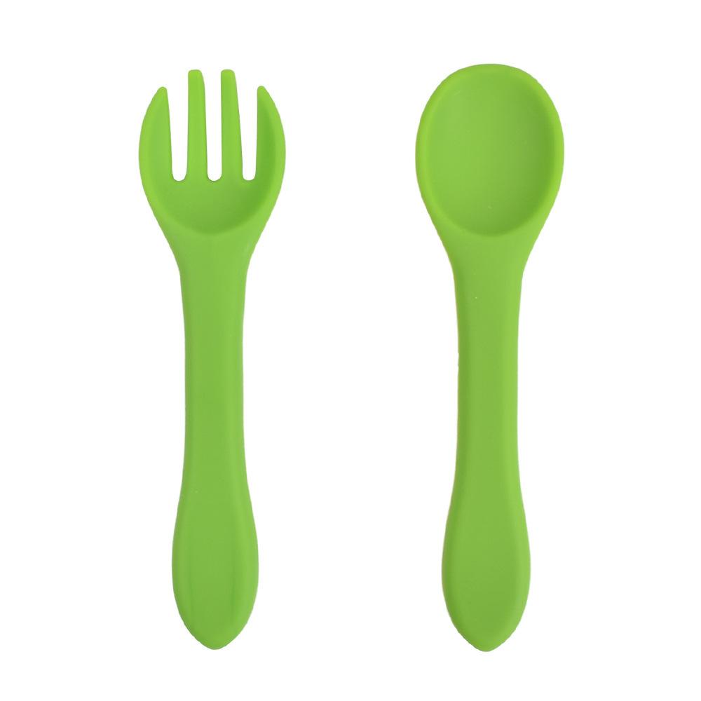 Food Grade Silicone Spoon Fork Children Tableware Baby Supplement Set