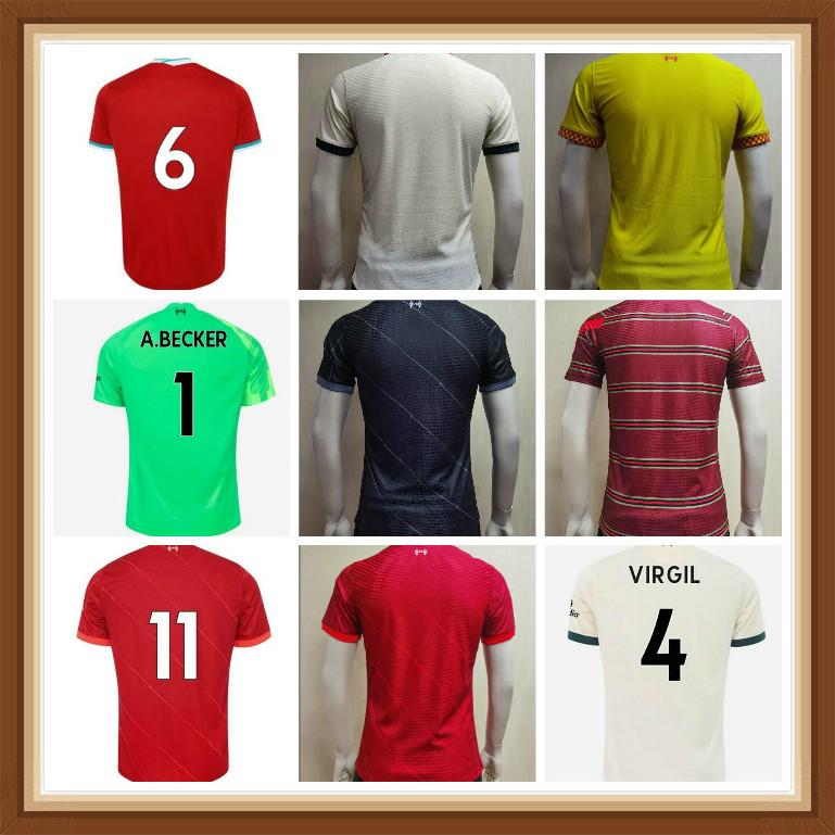 21 22 LVP Fan Player Version M.SALAH VIRGIL FIRMINO soccer jersey MANE MILNER WIJNALDUM A.BECKER ALEXANDER ARNOLD DIOGO J. Goalkeeper football shirt Men