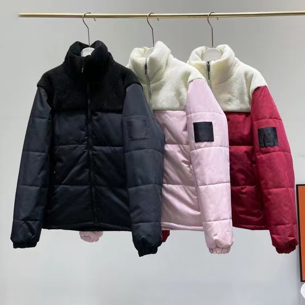 Women Men Fashion Down Parkas Winter Outerwear Classic Casual Hooded Coats Outdoor Warm Jacket Unisex Outwear For Couple Patchwork Lamb Down Fabric JK129
