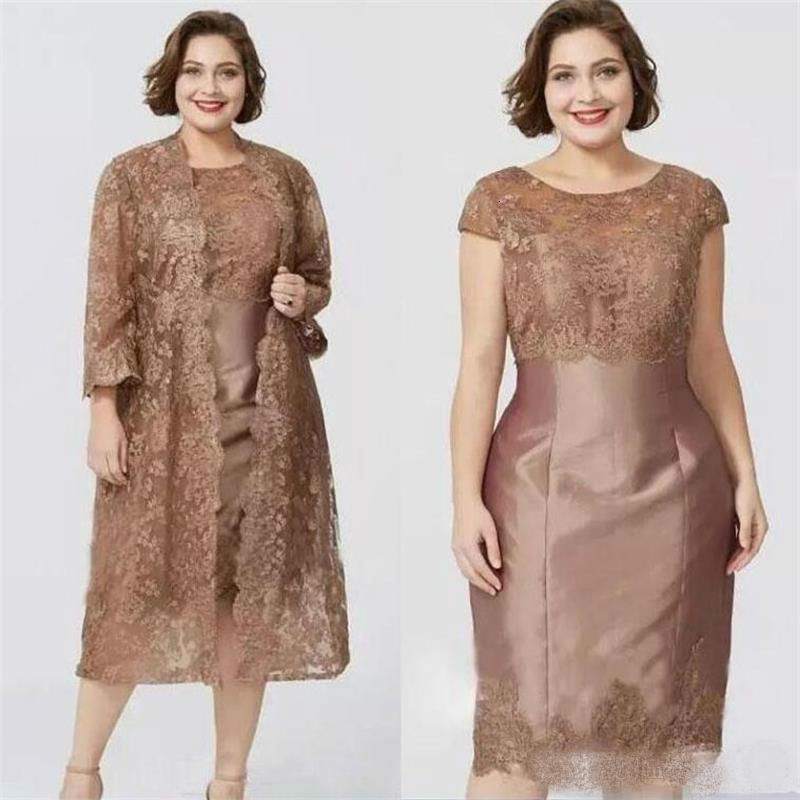Chic Brown Short Sleeves Sheath Mother of the Bride Dresses with Full Lace Jacket Elegant Tea Length Mother's Dress Prom Gowns