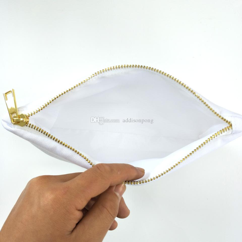 white poly canvas makeup bag for sublimation print with white lining white-gold zip blank cosmetic bag for heat transfer print