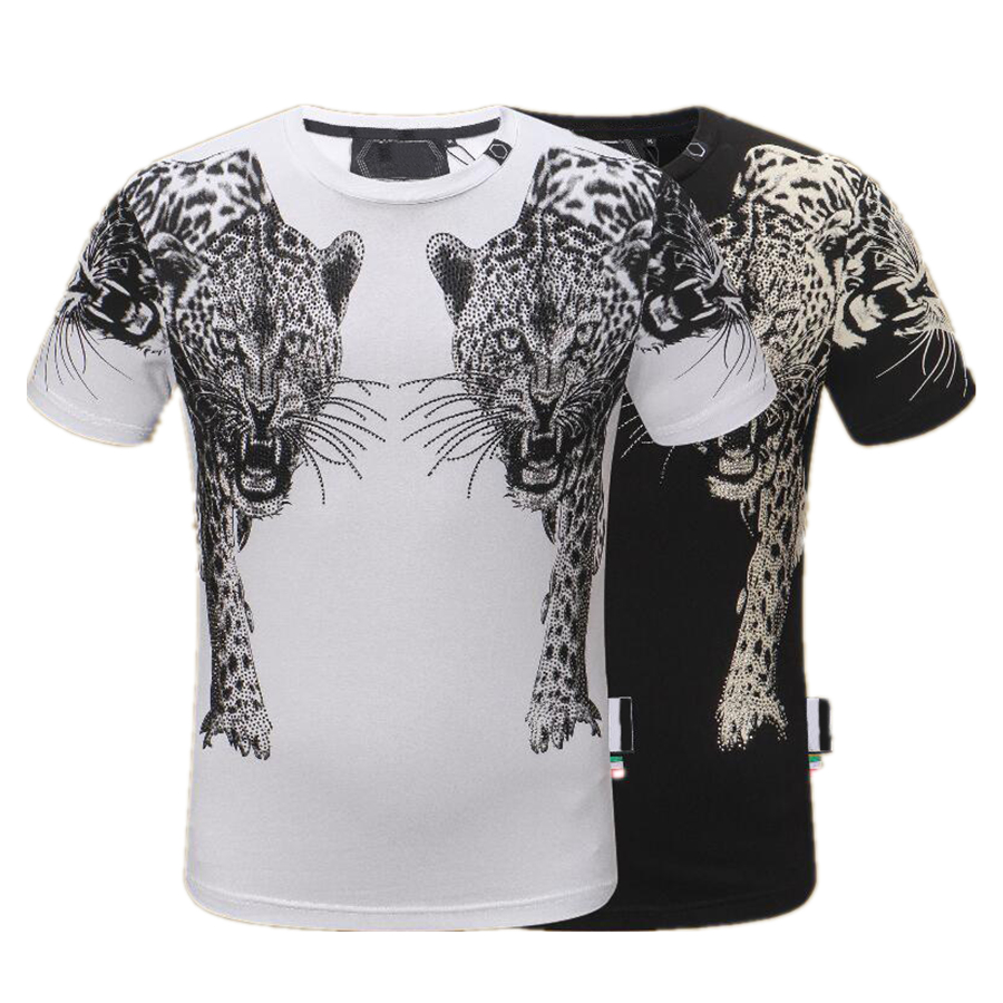 PP Men's T-shirt Summer rhinestone Short Sleeve Round Neck shirt tee Skulls Print Tops Streetwear M-xxxL Black 88126 Philipp Plein