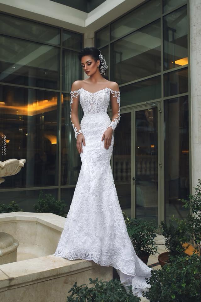 Dubai Arabic Luxury Off Shoulder Mermaid Wedding Dresses With Detachable Train Long Sleeves Lace Applique Beaded Wedding Dress Bridal Gowns
