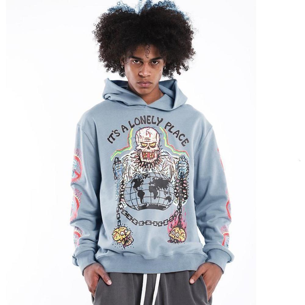 2020fwss Hoodie Hooded Men Women Print Pullover Blue Khaki