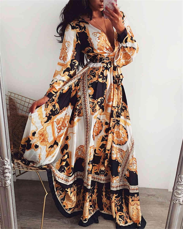 Women Boho Wrap Summer Lond Dress Holiday Maxi Loose Sundress Floral Print V-neck Long Sleeve Elegante Dresses Cocktail Party
