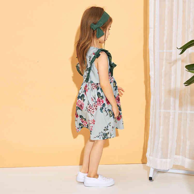 Baby Girls Dresses Kids Designer Clothes Flying Sleeve Print flower Princess Dress Green Headband Toddler Dress For Girl
