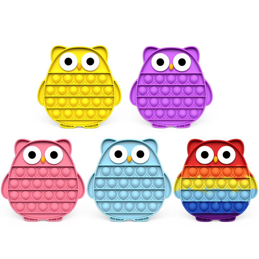 Owl Shape Push Bubble Sensory Toy Antistress Special Austim Needs Stress Relief Figet Silicone Animal Adullt Kids Toys