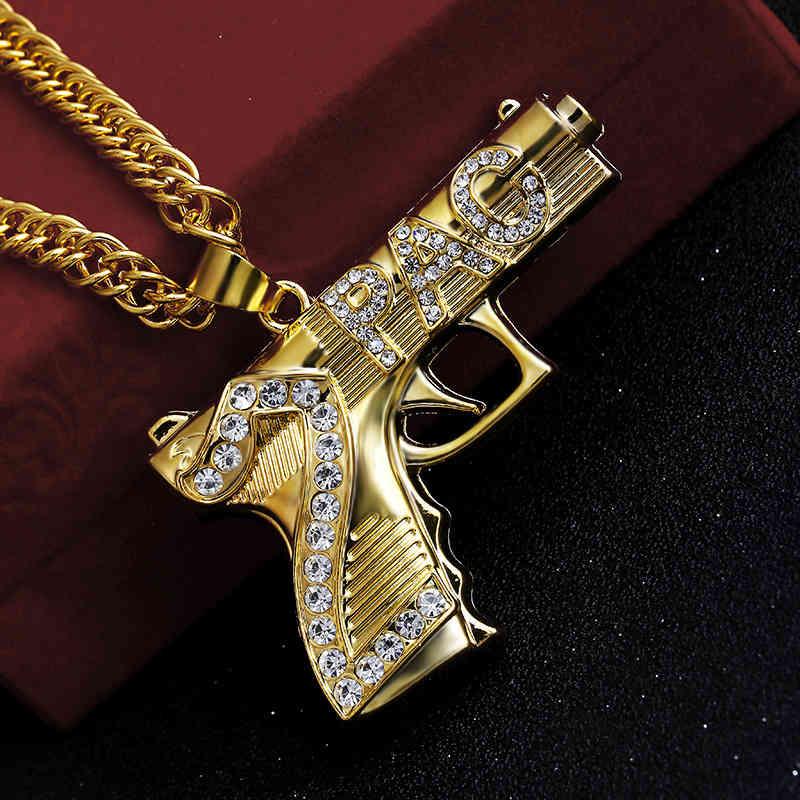 Fashion Hip Hop Iced Out Pendant Necklace Jewelry Gold Chain Gun Shape Pistol Pendant Necklace For Men