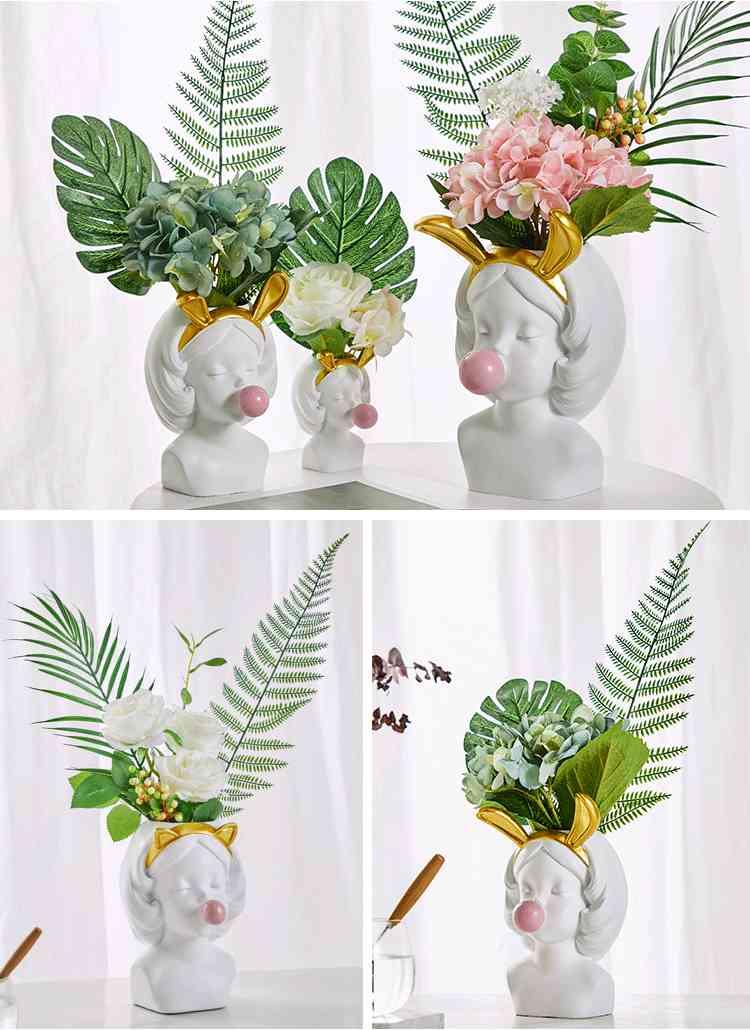 Creative Nordic style Resin vase Cute girl bubble gum Decorative smal flower pot modern lovely Art decoration Flower arrangement (1)
