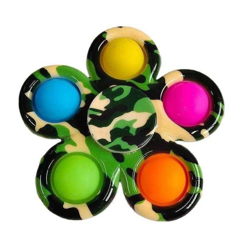 Colorful Sensory Fidget Push Bubble Board Toys Simple Dimple Fidgets Plus 3 Leaf 5 Sides Finger Play Game Anti Stress Spinner DHL