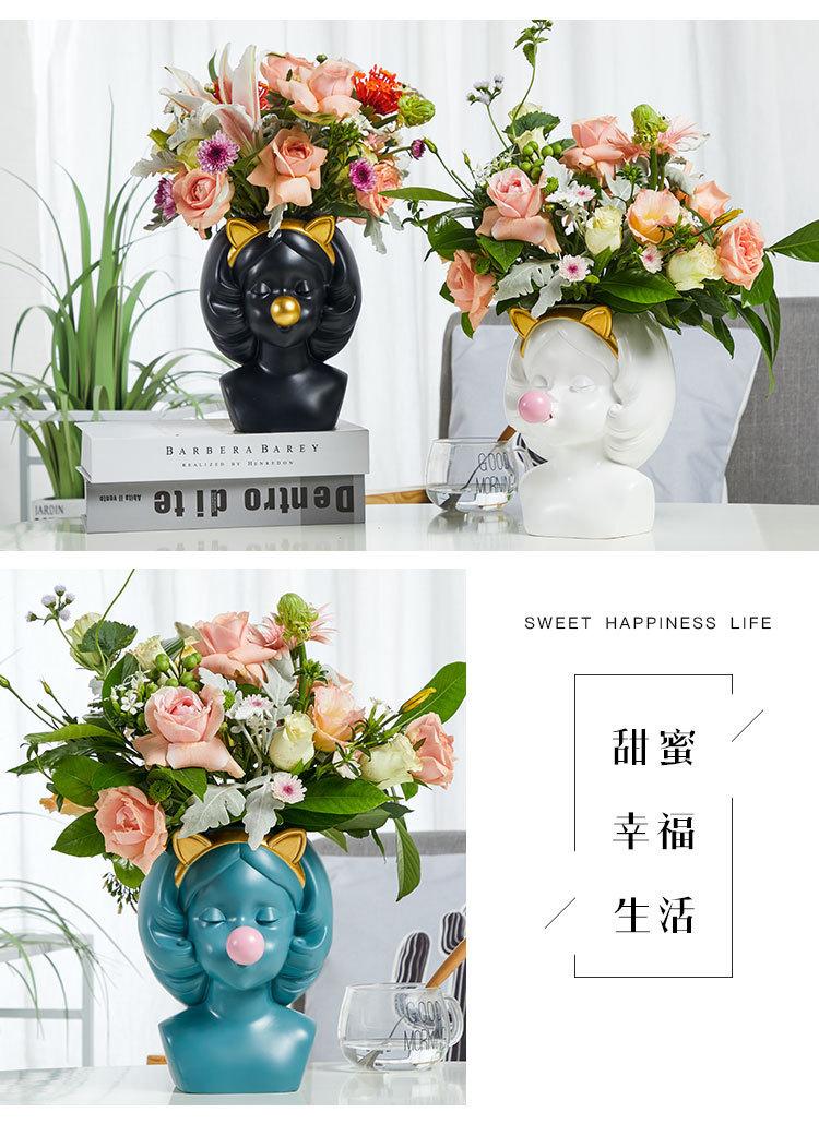 Creative-Nordic-style-Resin-vase-Cute-girl-bubble-gum-Decorative-flower-pot-modern-lovely-Art-decoration YXYT (19)