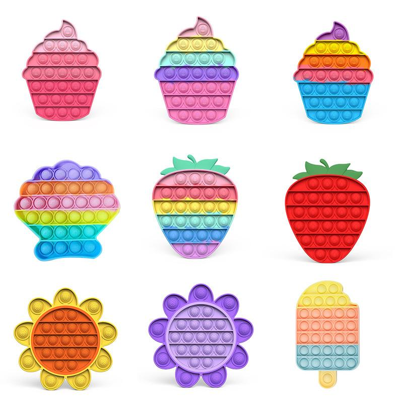 Color Ice Cream Strawberry DesktopFidget Toys Push Bubble Decompression Sensory Squeeze Therapy Toy Autism Stress Reliever For Adult Kids Relief bauble