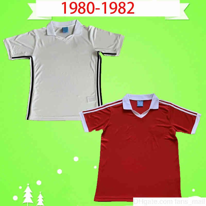 Manchester 1980 1982 RETRO FOOTBALL Shirt UniformS 80 82 Vintage red white home away soccer jerseys MAN UTD