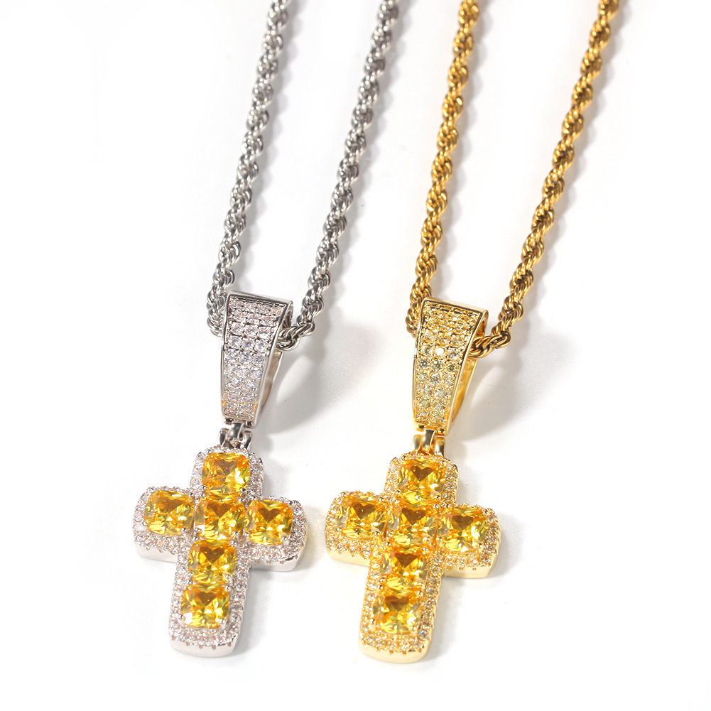 Mens Hip Hop Cross Necklace CZ Stone Iced Out Pendant Jewelry Gold Slver Chains Statement Necklaces