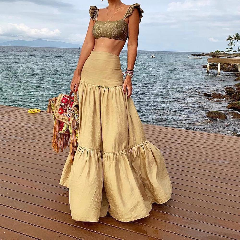 Plus-Size-Long-Skirt-Elegant-Style-Women-Pleated-Maxi-Khaki-Skirts-2019-Beach-Boho-Summer-Skirts
