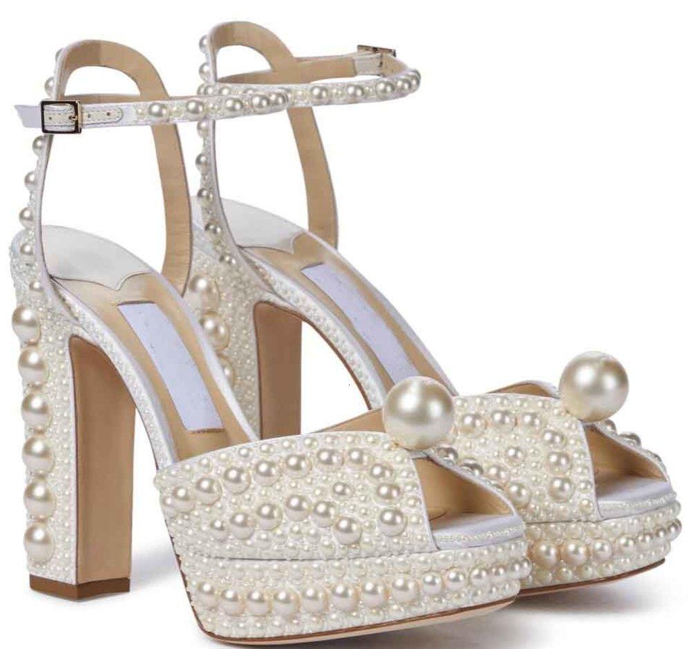 Elegant Bridal Wedding Dress Shoes Sacora Lady Sandals Pearls Leather Luxury Brands High Heels Women Walking With Box,EU35-43 Montanasports