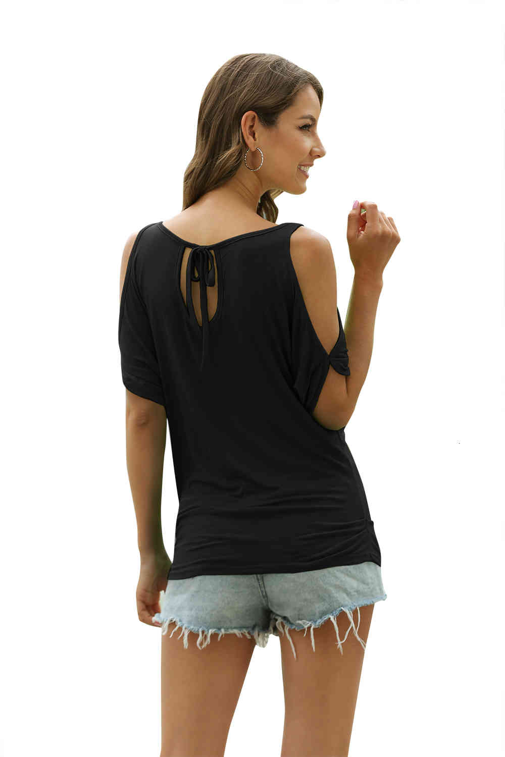 Women Summer T Shirts Casual T-shirt Sexy Off Shoulder Tops Batwing Short Sleeve Lace-up Solid O-neck Lady Loose Tops Tees