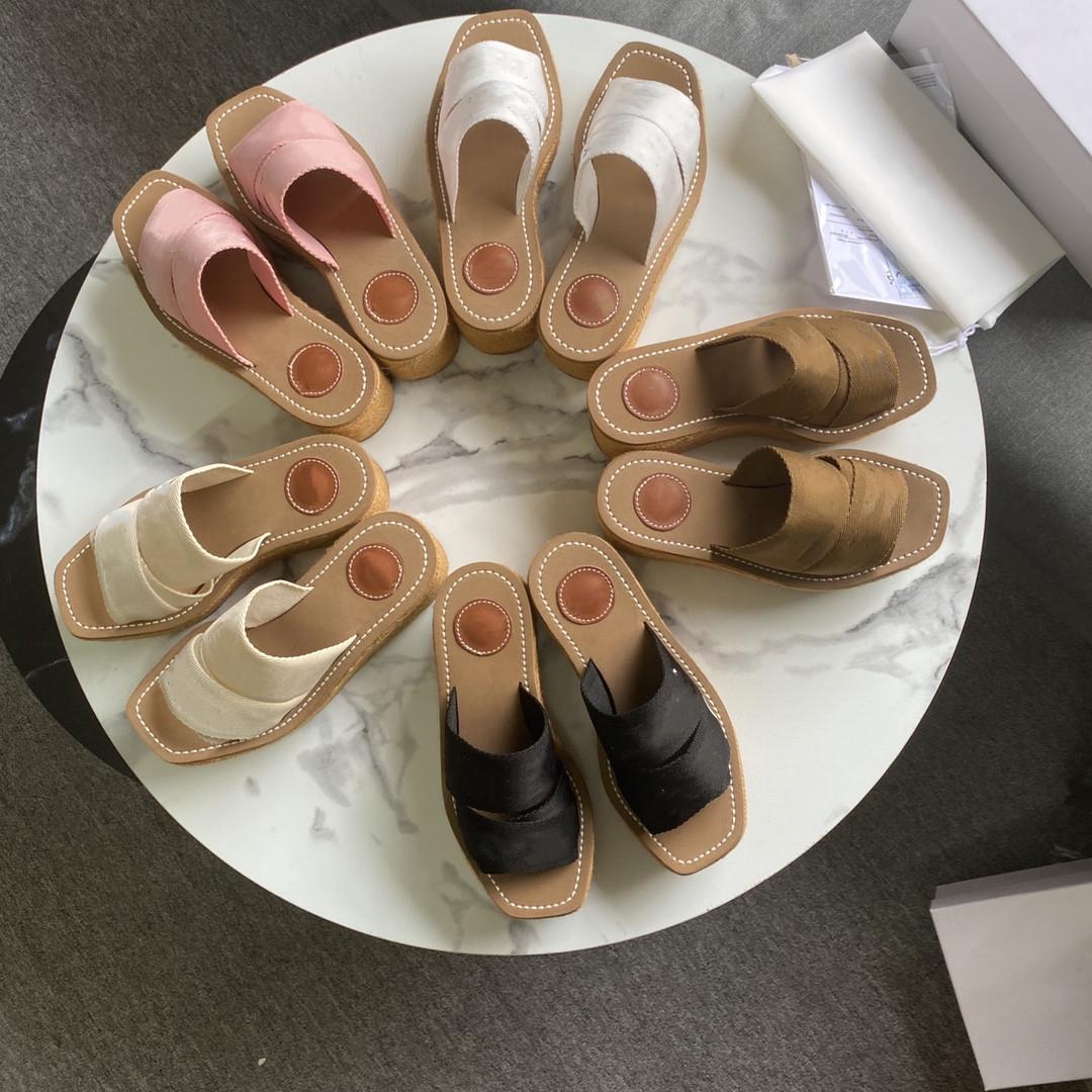 2021 Summer Ladies Sandals Designer Slippers Woody Wedge Muller Canvas Espadrille Flip Flops Platform High Heels Shoe Size 35-41