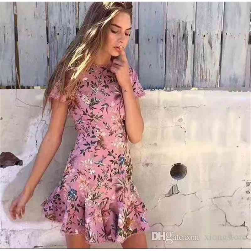 backless pink party dresses in pink multicolored tropical floral print fashion style cut-out back mermaid hem sexy women summer dress 2019