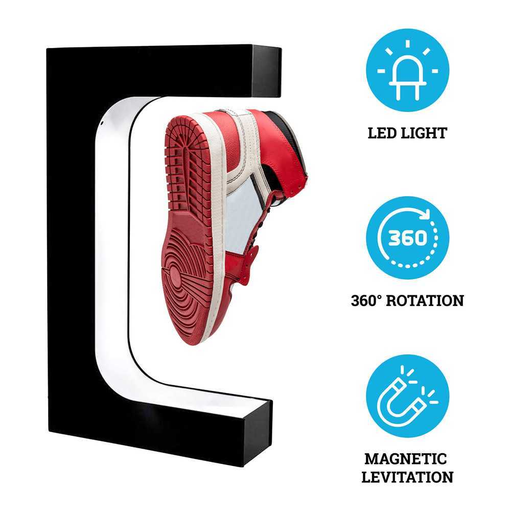 Fashion levitating magnetic floating shoes display stand and shop display for shoes fancy sever shoes display with led lighting X0803
