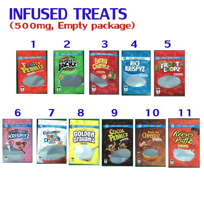 500mg CEREAL TREATS Crunchy Cookies FRUIT PEBBLES chocolate bags peanut canna butteR brownies CHEWY TRIPS AHOY CHIPS MEDICATED BEDIBELS Packaging mylar
